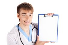 Free Medical Doctor Holding Clipboard Isolated On White Royalty Free Stock Photo - 19756885