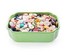 Sewing Buttons In Green Plastic Casket Royalty Free Stock Photo