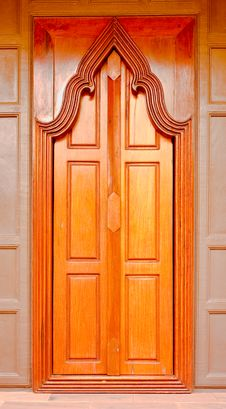 Thai  Style  Wooden Temple Door Stock Image