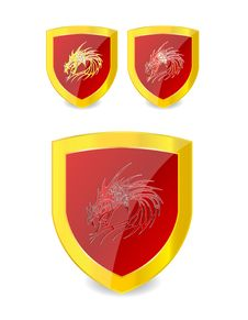 Dragons Set On The Emblem Gold And Red Color Stock Photos