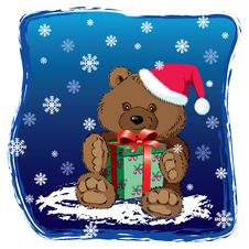 Free Teddy Bear With Xmas Present Royalty Free Stock Image - 19758606