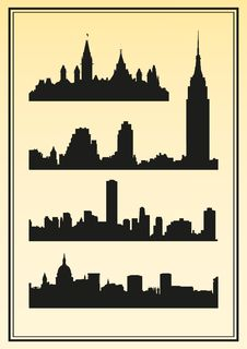 Free Silhouettes Of Cities Royalty Free Stock Image - 19758646