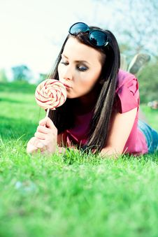 Beautiful Girl With Big Lollipop Royalty Free Stock Photography
