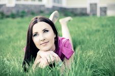 Free Beautiful Young Girl Lying On The Grass Stock Images - 19758974