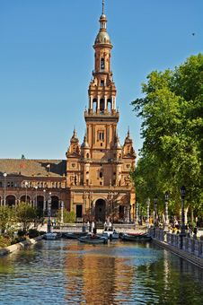 Tower Of The Plaza De Espana In Seville - Spain Stock Photography