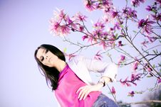 Free Fashionable Girl And  Purple Flowers Royalty Free Stock Photography - 19759017