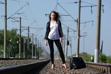 Free Railway Girl Royalty Free Stock Images - 19759019