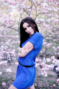 Free A Girl In A Blue Dress In The Garden Of Magnolias Royalty Free Stock Images - 19759059