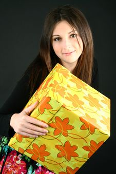 Free Beautiful Girl With Box Stock Image - 19759291