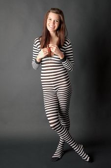 Free Young Woman In Zebra Bodysuit With Big Smile Stock Photo - 19759510