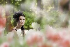 The Girl In The Tulips Stock Images