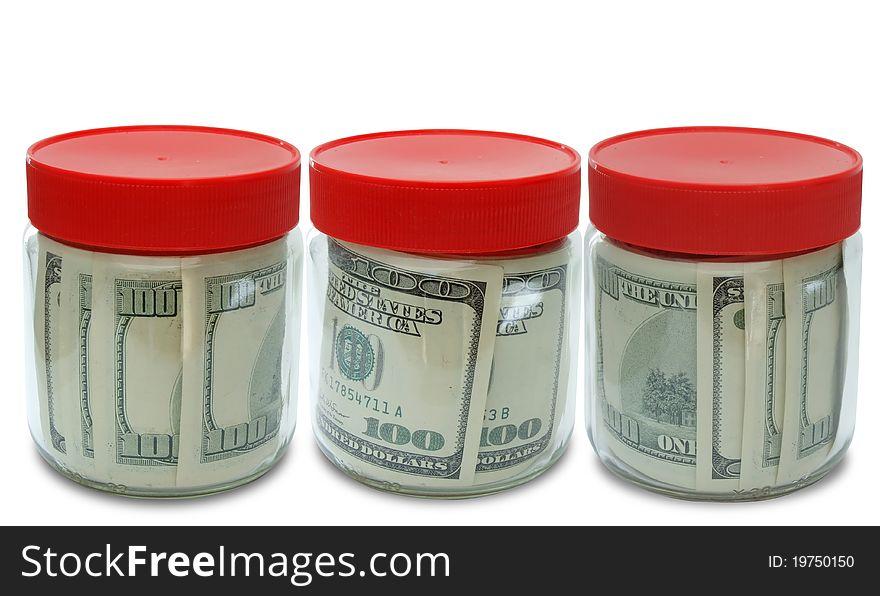 Set of banknote in jar