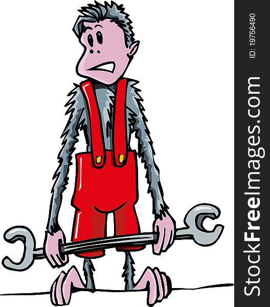 Cartoon ape with a monkey wrench