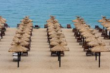 Free Empty Beach With Chairs And Umbrellas Royalty Free Stock Image - 19760056