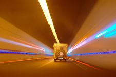 Free Mobile Home Driving Through The Tunnel Royalty Free Stock Photo - 19760065