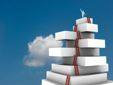 Free Businessman Jump Over 3d Virtual Tower Stock Image - 19760551