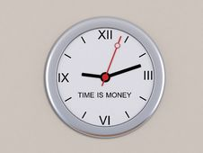 Wall Clock With The Inscription Time Is Money Royalty Free Stock Photo