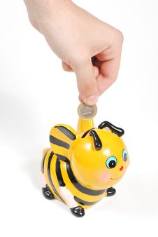 Free Bee Piggy Bank2 Royalty Free Stock Images - 19761329