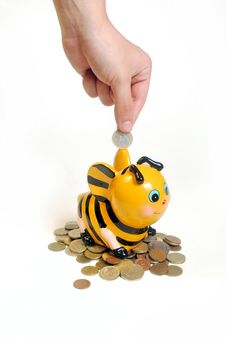 Free Bee Piggy Bank2 Stock Photography - 19761332
