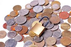 Free Locks And Coins Stock Image - 19761481