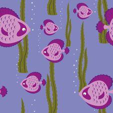 Seamless Pattern Pink Fish Royalty Free Stock Image