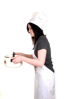 Girl With Cook Pot. Royalty Free Stock Images