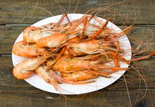 Shrimps On A White Plate Royalty Free Stock Images