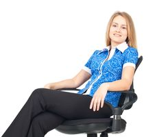 Free Business Woman Sitting In Chair Stock Photo - 19765120