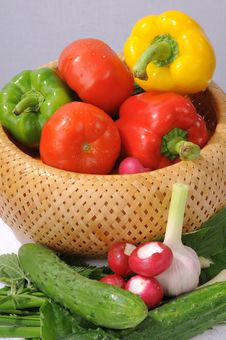 Basket With Vegetables. Stock Photography