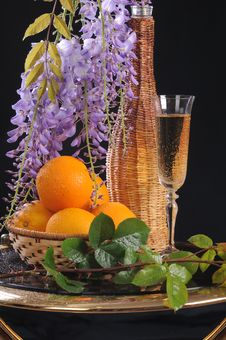 Free Flower, Wine And Oranges. Royalty Free Stock Photography - 19765647