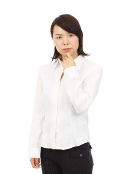 Portrait Of Young Asian Business Woman Thinking Stock Photography