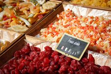 Dried Fruits At Sunday Market In France Stock Photos