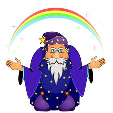 Free Magician With Rainbow Royalty Free Stock Photo - 19765935