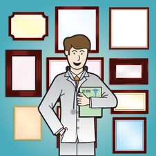 Doctor With Blank Certificate Background Stock Photos