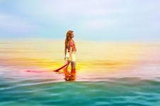 Beautiful Sensual Woman Dreaming In The Sea Stock Image