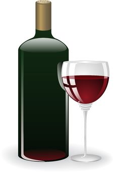 Free Glass And A Bottle Of Wine Stock Photos - 19766433