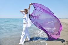 Free Beautiful Young Woman On Beach With Scarf Royalty Free Stock Image - 19766966