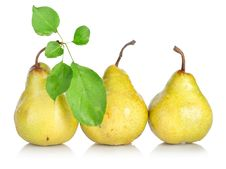 Free Yellow Pears With Green Leafs Royalty Free Stock Photos - 19767778