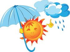 Free Image Of The Sun, Which Keeps The Umbrella Royalty Free Stock Photography - 19767817