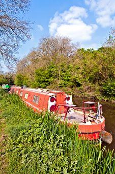 Free Red Narrowboat Royalty Free Stock Photo - 19770355