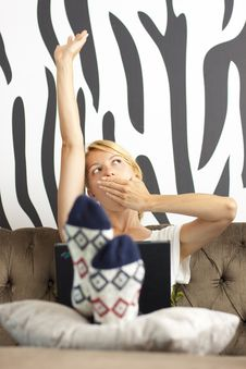 Free Lady Using Laptop, Stretching And Yawning Royalty Free Stock Images - 19770639
