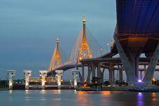 Bridge Circle At Night In Thailand Stock Images