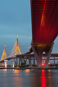 Bridge Circle At Night In Thailand Royalty Free Stock Photo