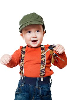 Free Boy Holds The Keys To The Apartment Royalty Free Stock Photos - 19771608