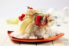 Free Chicken Shish Kebab And Rice Royalty Free Stock Photo - 19771635