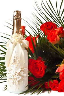 Roses And Champagne Royalty Free Stock Images