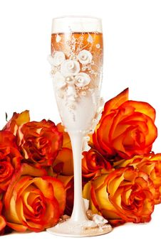 Free Glass Of Champagne With Flowers Royalty Free Stock Photos - 19773888