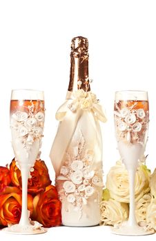 Champagne And Roses Royalty Free Stock Images
