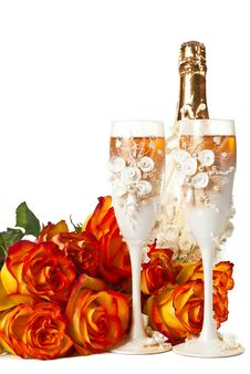 Free Champagne And Roses Stock Photography - 19773902