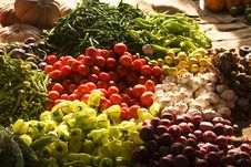 Fresh Fruits And Vegetables At The Market Stock Image